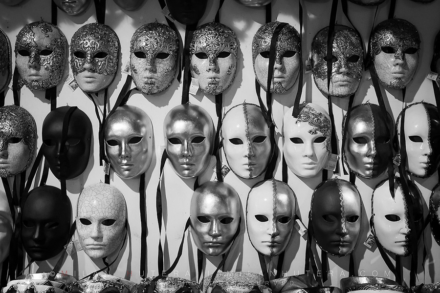 A wide selection of masks from the prestigious mask workshop, that supplied several pieces to Stanley Kubrick's final movie - Eyes Wide Shut. The masks served many purposes in Venetian republic and they were even used by doctors as a form of protection during the plague. After the fall of Venetian republic, the craft was almost completely forgotten until the 1980s. After the revival of Carneval, mask workshops were established again and had to re-learn the process of mask making from the ancient records.
