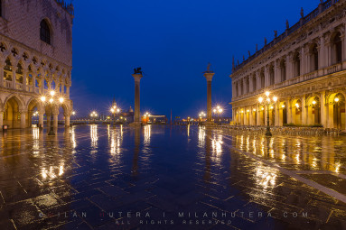 Very rainy March dawn at Piazzetta San Marco.