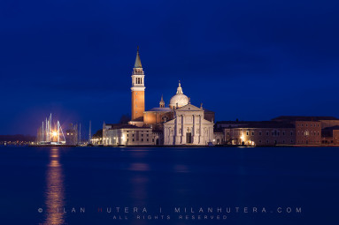 Dark heavy clouds create perfect conditions for the blue hour at Isola de San Giorgio Maggiore, Venice