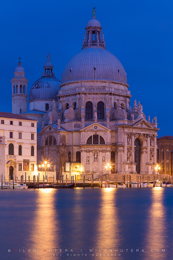 Santa Maria della Salute, one of the most famous churches in Venice at dawn.