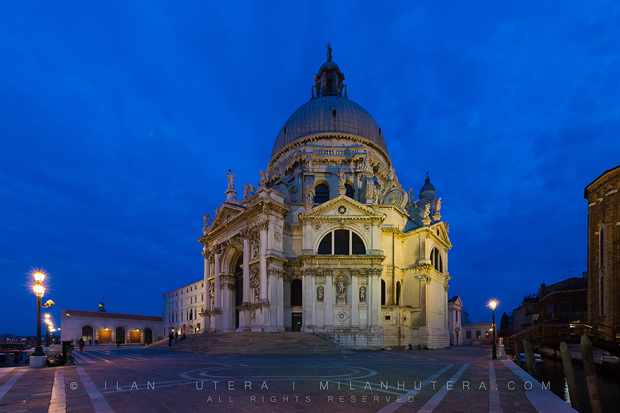 A quiet cloudy March evening at Santa Maria della Salute - one of the most famous churches in Venice.