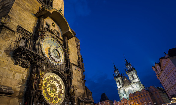 Astronomical Clock during Twilight, Prague, Czech Republic