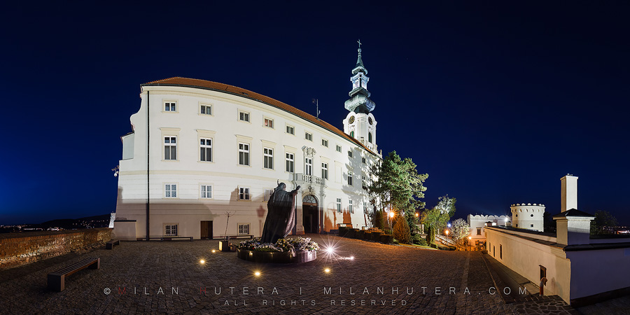 The twilight hour on the square dedicated to late pope John Paul II. Nitra Castle is one of the most important castles of Slovak history. It was especially important during the Great Moravian Empire and was home to Dukes Mojmir, Pribina and Rastislav.