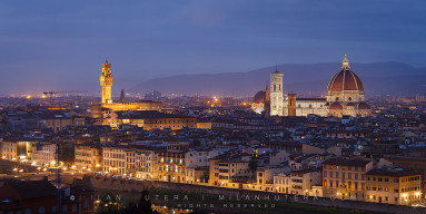 A cold spring evening view of Florence from Piazzale Michelangelo