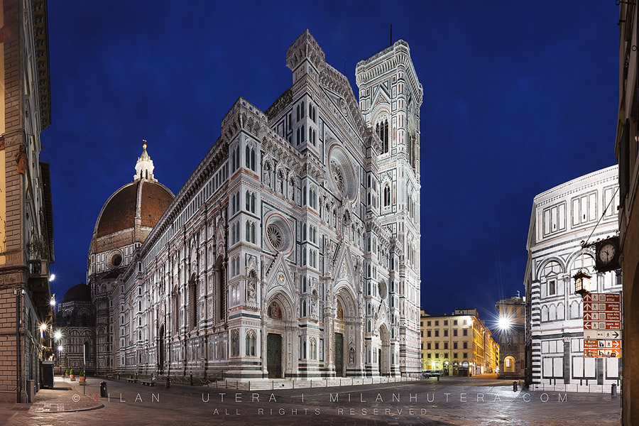 First light on Piazza del Duomo with its jewel Santa Maria del Fiore in Florence, Italy. The incredible size of the cathedral, the closeness of the Baptistery of San Giovanni and the overall smallness of Piazza del Duomo made the shooting incredibly challenging.