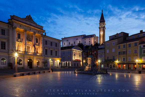 Tartini Square Dawn, Piran, Slovenia