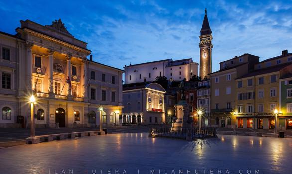 Tartini Square Dawn, Piran, Slovenia