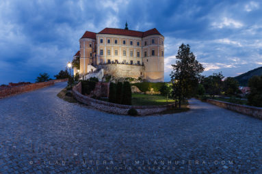 A cloudy September dawn at the beautiful fortress in Mikulov, Moravia. This fortress was one of the several castles owned by the Dietrichstein family. The castle was almost completely destroyed by the massive fire at the end of World War Two. It was restored to its former glory in the mid-20th century.