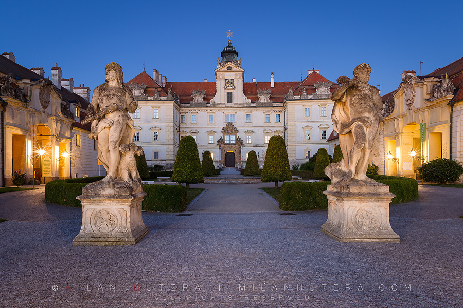 A beautiful and subtle pre-dawn glow on the courtyard of Valtice Castle. It was the seat and residence of the Liechtenstein family. It is a part of Lednice-Valtice Cultural Landscape, that is registered as UNESCO World Heritage Site.