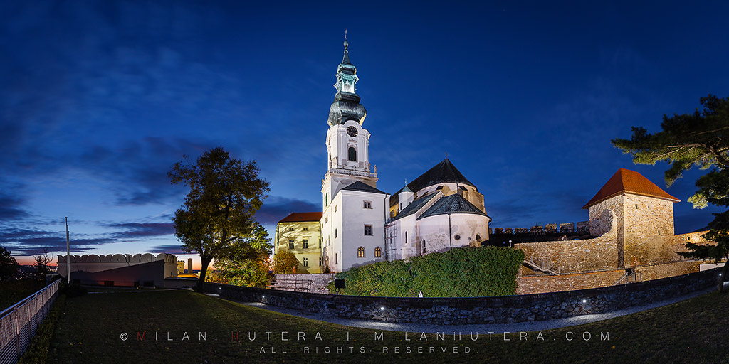 A late October evening at Nitra Castle, Slovakia. The Cathedral of Saint Emmeram dominates the castle courtyard. Nitra castle was once the home to Dukes Mojmir and Pribina during the Great Moravian Empire.