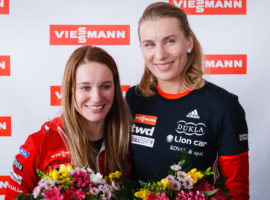 Anastasiya Kuzmina and Paulina Fialkova met the press at Viessmann Slovakia Headquarters after their successful appearances at Pyeongchang 2018 Winter Olympic Games.